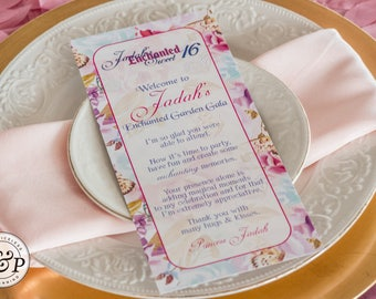 Printable Butterfly/Enchanted Garden Welcome Thank You Table Card
