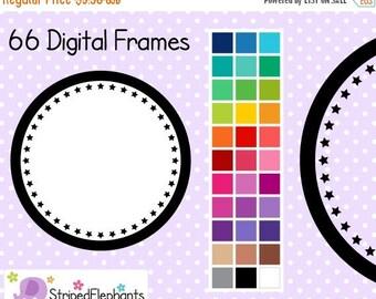 40% OFF SALE Star Circle Digital Frames 1 - Clip Art Frames - Instant Download - Commercial Use