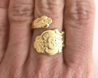 Gold Spoon Ring, vintage adjustable band wide wrap antique flatware handle Anniversary birthday gift gifts for her wife