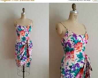 20% OFF SALE Vintage 1980s Silk Dress / Bright Floral Tulip Dress / Size 4 / Tags Still Attached / A.J. Bari / xs