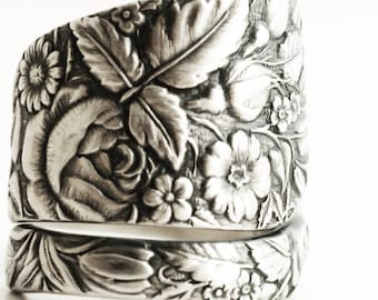 Floral Wedding Ring, Spoon Ring Sterling Silver, Antique Spoon Ring, Flower Garden, Antique Towle ca 1884 Arlington, Custom Ring Size (6655)