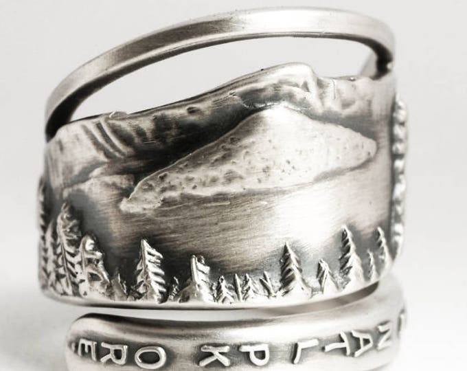 Crater Lake Oregon Ring, Mountains Ring, 925 Sterling Silver Spoon Ring, Oregon State Jewelry, Thumb Ring Unique Gift, Custom Ring Size 6927