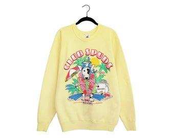 Vintage 1987 Club Spudz Bud Light Beach Dog Hawaiian Shirt Crewneck 50/50 Poly-Cotton Blend Sweatshirt, Made in USA - XL