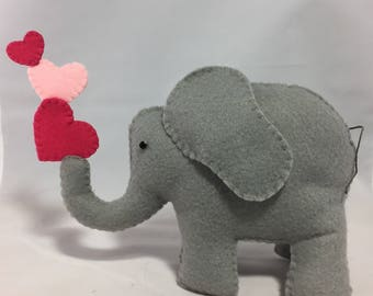 Felt Elephant with Three Pink Hearts - 6 inches tall