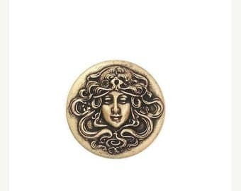 SALE 30% OFF Nouveau Victorian Lady Cameo Round Circle Ox Brass Stamping Finding Qty 1 Made in the USA Brass
