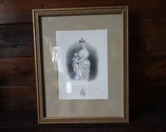 Antique French Print Statue De La Marie Catholic Religious framed glass fronted circa 1850's / English Shop
