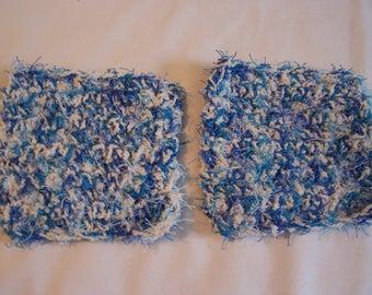 Kitchen Scrubbies - Blue Scrubbies - Waves Scrubbies - Kitchen Scrubby - Dish Scrubbies - Set of 2 Scrubbies - Cleaning Scrubbies