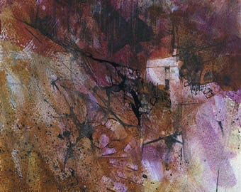 Original moorland cottage painting by Paul Bailey: Fferm fynydd dau