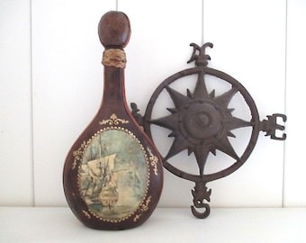 Vintage Leather Ship Decanter, Italy, ACTION