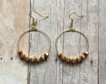 Matte gold beaded hoop earrings