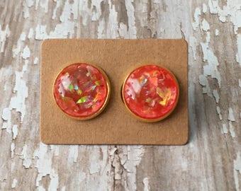 Red orange opal studs
