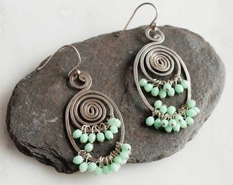 Spiral Earrings, Mint Earrings, Sterling Silver Earrings, Cluster Earrings, Large Earrings Dangle, Large Sterling Silver Earrings, Wife Gift