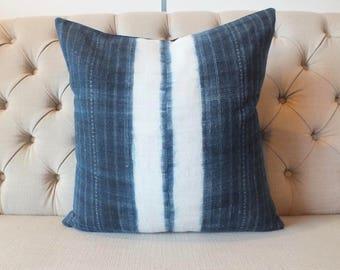 "20""x20"" Vintage Hmong Hemp cushion cover, Handwoven Hemp Fabric-vintage Homespun hemp,Decorative Cushion"