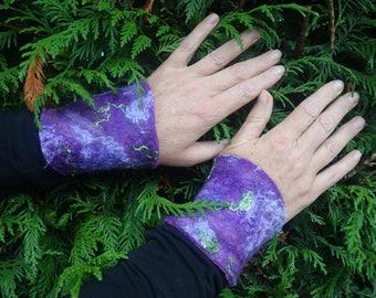 Pixie cuffs  felted bracelet wrist warmer purple cuffs wool cuffs wristbands wristlets larp felted cuffs festival fashion wool cuff faerie