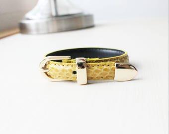 Lizard Pattern Buckle Belt Leather Bracelet(Mustard)