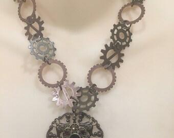 Ladies Victorian Steampunk Gears Necklace