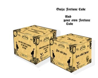 Halloween Ouija Fortune Teller cube printable and editable 2 cubes  one editable party game and Ouija fortune DIY