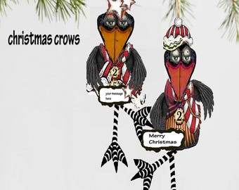 Christmas tree ornament, christmas card candy cane crows paper puppets, collage sheet DIY  stocking stuffers so cute