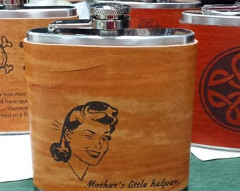 ON SALE Gift for Women - Mother's Little Helper Leather Flasks - engraved in leather