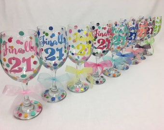Milestone Birthday Personalized Wine glass, Extra large 20 oz, name and polka dots, Choose your saying Finally 21, Fabulous 40, etc.