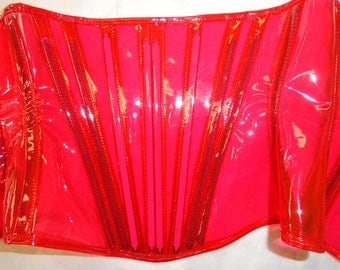 S/M Red Clear Corset -tinted PVC underbust with steel boning from Artifice Clothing