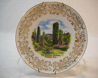 The Butchart Gardens Victoria BC Souvenir Wall Plate Made In Western Germany Free Shipping