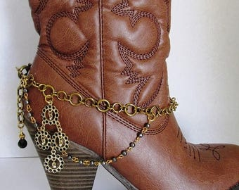 SALE Shabby Chic and girly BOOT JEWELRY for wearing as dressy formal wear for your boots with black and gold with gold chain