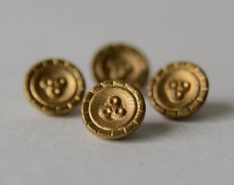 "4 Tiny 1/4"" Antique Shank Buttons Gold Brass Victorian - S1B4B"