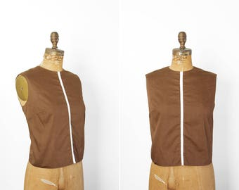 1950s Top - 50s Top - Brown Cotton Sleeveless Button Back Blouse