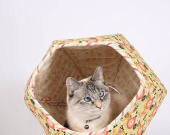 Summer Sale Floral Fabric Cat Bed - The Cat Ball modern pet bed made in Woodlands Flower and Toile patterns