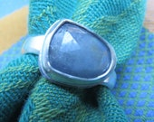 Rose Cut Blue Gray Sapphire Free Form in Sterling Ring Size 7 & 3 Quarters