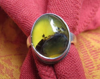 Dendritic Rosella Opal in Argentium Sterling Ring Size 7
