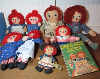 8 Vintage, Raggedy Ann & Raggedy Andy Dolls and Wonder Book, Worn and Well-Loved