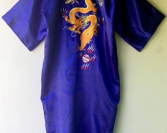 Bright Blue Vintage Satin DRAGON Robe // Large - Xl