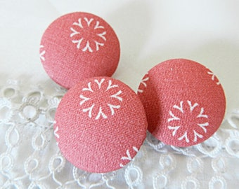 Pink floral fabric button, 24 mm in diameter