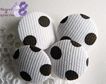 White fabric button with Brown dots, 24 mm in diameter