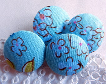 Button blue floral fabric, 24 mm / 0.94 in diameter