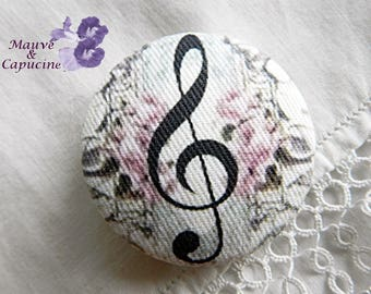 Fabric button, music, 0.86 in / 22 mm