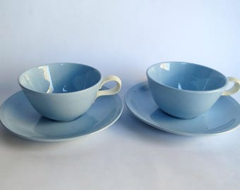 Homer Laughlin Skytone Cups and Saucers Pair of Vintage Blue Cups