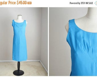 Memorial SALE - 15% off - vintage 50s 60s ocean blue shift sleeveless dress -- womens small --34-28-38