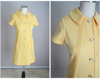 vintage 60s lemon yellow gogo mini mod collared button down shift a-line dress-- womens small- 34-32-40