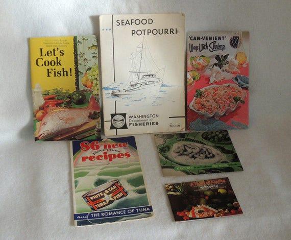 6 Vintage Mid-Century Recipe Booklets.. Fish, Seafood, Crab, Shrimp & Tuna