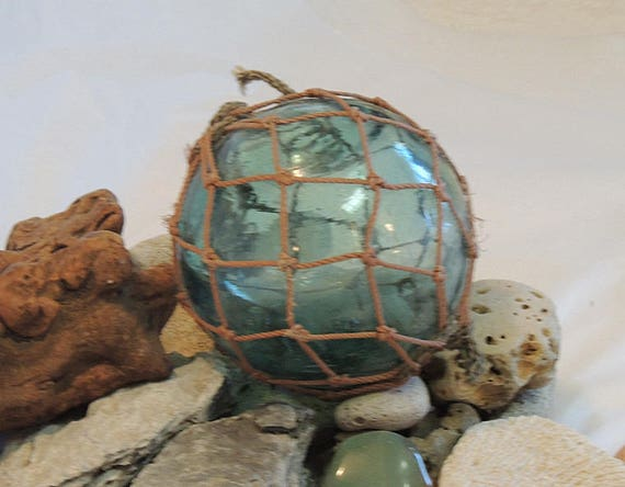 "Vintage 14"" In Circumference Japanese GLASS FISHING FLOAT.. Full Net & Bubbles (#35)"