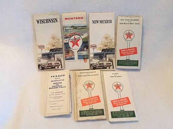 Lot Of 7 Vintage TEXACO Highway Road Maps.. 1940s - 1970s