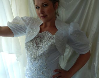 Vintage Wedding Gown & Jacket - Beaded Strapless Wedding Dress with Bolero Jacket - Size 10 Wedding Dress - Vintage Bridal Gown