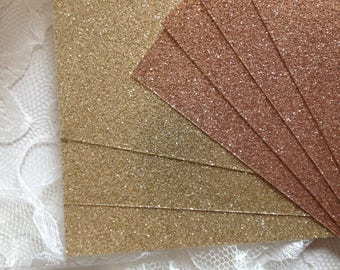 RESERVED for MAYRA - Rose Gold Glitter Cardstock for DIY Invitations - Table Numbers - Glitter Menus - Wedding Programs - Place Cards