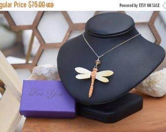 Summer Sale Dragonfly Necklace, Dragonfly Pendant ,Mother Of Pearl Necklace, Whimsical Necklace, Goddess Necklace