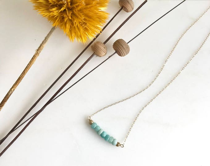 Short Amazonite Beaded Necklace. Delicate Colorful Boho Necklace. Simple Necklace. Layering Necklace. Gift for Her. Dainty Beaded Necklace.