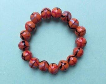 Orange bracelet, orange bead bracelet, glass bead bracelet, stretch bracelet, stretchy bracelet, stacking bracelet, chunky bracelet