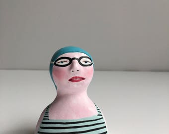 Clay figurine // SWIMMER 97 clay sculpture // blue-grey black-striped bathing suit // teal swim cap & goggles // original art // talisman